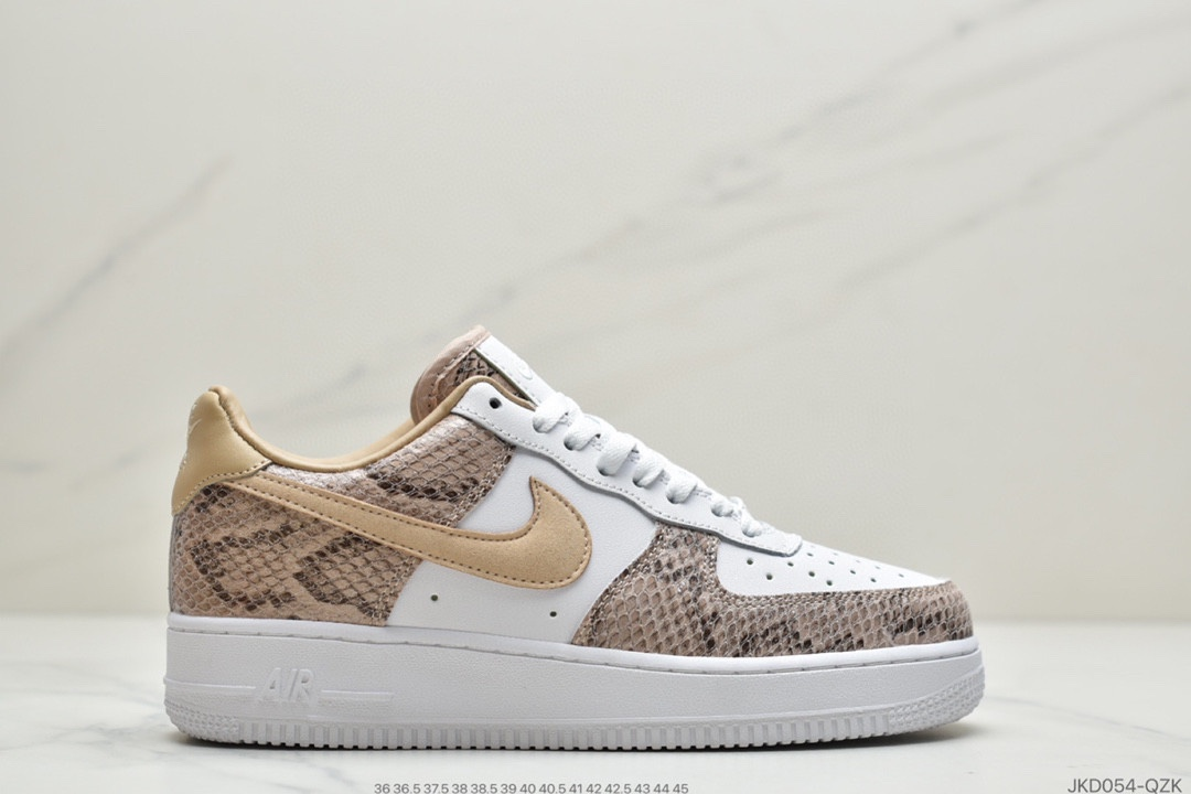 公司级耐克Nike Air Force 1 Premium Red Bark 狂野蛇纹拼接系列莆田鞋
